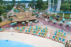 Bomanite Imprint Systems were installed here by Harrington Bomanite to create 45,000 SF of stamped concrete, using multiple patterns and colors throughout the hardscape to add a distinctive design aesthetic while providing a durable decking solution around this new water feature at Canobie Lake Park.