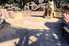 A total of 15,000 SF of Bomanite Bomacron Garden Stone imprinted concrete was installed at the El Paso Zoo to simulate the real world habitat of the Chihuahuan Desert and the natural English slate texture and varying stone sizes create a realistic replication of boulders and small pebbles from the native desert rock riverbed landscape.