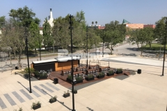 """Bomanite stamped concrete was installed here using the Bomacron 11.5"""" Boardwalk pattern to create a contrasting gray walkway that adds distinctive detail to the Northwest Plaza entrance at LAFC Stadium."""