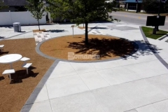 Bomanite Bomacron Sandstone Texture was chosen for this exterior space to create accent paving that creates definition and delineation in this space and this stunning Cobblestone Gray stamped concrete is perfectly complements the surrounding hardscape surfaces at Owasso's Redbud Festival Park.