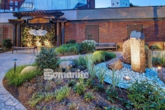 The Bomanite Imprint System was used here in both Small Sandstone and Regular Slate patterns and these decorative concrete walkways amble through the healing garden to enhance the serene environment that was created here to help aid healing of body and spirit for patients, visitors, and staff at CMC Mercy Hospital.