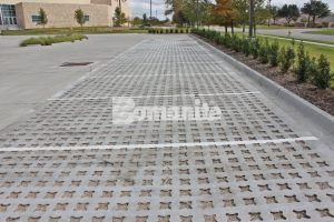 Bomanite Pervious Concrete Systems with Grasscrete Stone Filled, installed by Texas Bomanite at Hope Fellowship Bible Church, make this parking lot not only eco-friendly but beautiful as well.
