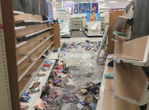 Close up of Aisle destruction of Target East Lake in Minneapolis, MN, restoration installation of Bomanite Custom Polishing Systems using Bomanite Patene Teres was completed by Bomanite Licensee Concrete Arts.